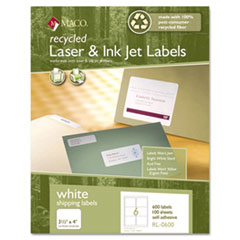 Recycled Laser and InkJet Labels, 3-1/3 x 4, White, 600/Box
