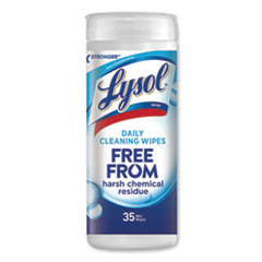 """LYSOL® Brand WIPES DAILY CLEANSING 35 DAILY CLEANSING WIPES, 8"""" X 7"""", WHITE, 35 WIPES-CANISTER"""