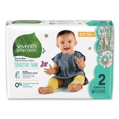 Seventh Generation® DIAPERS BABY SZE 2 4PK-CT FREE AND CLEAR BABY DIAPERS, SIZE 2, 12 LBS TO 18 LBS, 144-CARTON