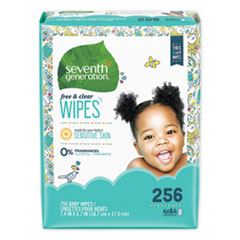 Seventh Generation® WIPES BABY REFILL 256CT FREE AND CLEAR BABY WIPES, REFILL, UNSCENTED, WHITE, 256-PACK