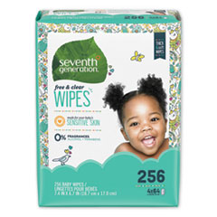 Seventh Generation® WIPES BABY REFILL 256CT FREE AND CLEAR BABY WIPES, REFILL, UNSCENTED, WHITE, 256-PACK, 3 PACKS-CARTON