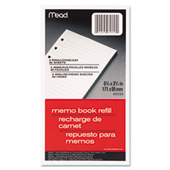 Mead 6-Ring Memo Book Refill, College Rule, 6HP, 6-3/4 x 3-3/4, 80 Sheets, White