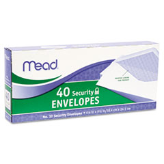 Mead Security Envelope, 4 1/8 x 9 1/2, 20 lb, White, 40/Box