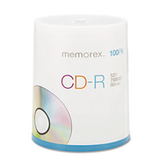 Memorex CD-R Discs, 700MB/80min, 52x, Spindle, Silver, 100/Pack
