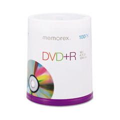 Memorex DVD+R Discs, 4.7GB, 16x, Spindle, Silver, 100/Pack