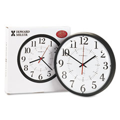 Howard Miller Alton Auto Daylight Savings Wall Clock, 14in, Black
