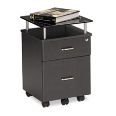 Eastwinds Vision Locking Box/File Pedestal, Anthracite with Black Glass