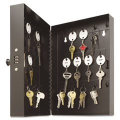 SteelMaster Hook-Style Key Cabinet, 28-Key, Steel, Black, 7-3/4