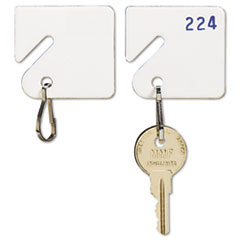 SteelMaster Slotted Rack Key Tags, Plastic, 1 1/2 x 1 1/2, White, 20/Pack