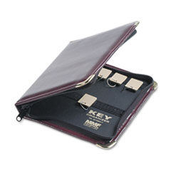 SteelMaster Portable Zippered Key Case, 24-Key, Leather-Like Vinyl, Burgundy, 8 3/8 x 7
