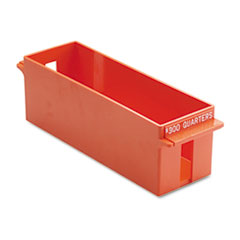 MMF Industries Porta-Count System Extra-Capacity Rolled Coin Plastic Storage Tray, Orange