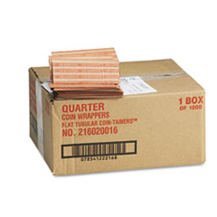 Pop-Open Flat Paper Coin Wrappers, Quarters, $10, 1000 Wrappers/Box