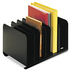 SteelMaster Six-Section Adjustable Book Rack, Steel, 15 x 11 x 8 7/8, Black