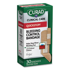 Curad® BANDAGES QUICK STP ASST Quickstop Flex Fabric Bandages, Assorted, 30-box