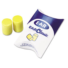 3M E-A-R Classic Earplugs, Pillow Paks, Uncorded, PVC Foam, Yellow, 200 Pairs/Box