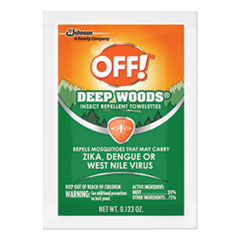 OFF!® INSECTICIDE DEEPWOODS TWL Deep Woods Towelette, 0.28 Box, Unscented, 12-box