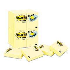 Post-it Notes Original Notes, 1-1/2 x 2, Canary Yellow, 24 90-Sheet Pads/Pack