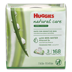 Huggies® WIPES HUGGIES NATURALCARE Natural Care Baby Wipes, Unscented, White, 56-pack, 3-Pack-box, 3 Box-carton