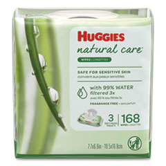 Huggies® WIPES HUGGIES NTRLCR 64PK Natural Care Baby Wipes, Unscented, White, 56-pack, 3-Pack-box