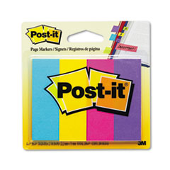 Post-it Page Markers, Four Ultra Colors, Four Pads of 50 Strips Each