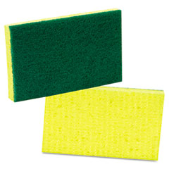 Scotch-Brite Medium-Duty Scrubbing Sponge, 3-1/2 x 6-1/4, Yellow/Green,20/Carton
