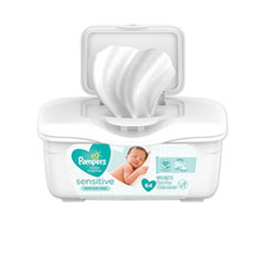 Pampers® WIPES BABY SNSTVE TUB64CT Sensitive Baby Wipes, White, Cotton, Unscented, 64-tub
