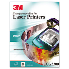 3M Black & White Laser Printer Transparency Film, Clear, Letter, 50/Box