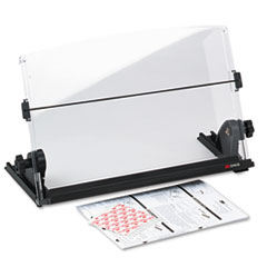 3M In-Line Adjustable Desktop Copyholder, Plastic, 150 Sheet Capacity, Black/Clear