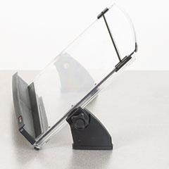 3M In-Line Adjustable Desktop Copyholder, Plastic, 150 Sheet Capacity, Black/Clear