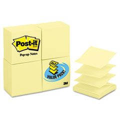Post-it Pop-up Notes Pop-Up Note Refills, 3 x 3, Canary Yellow, 24 100-Sheet Pads/Pack