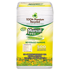 Marcal PRO 100% Recycled Beverage Napkins, 1-Ply, 9 3/4 x 9 1/2, White, 4000/Carton.