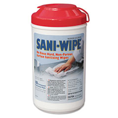 Sani-Wipe Surface Sanitizing Wipes, 7.75&quot; x 10.5&quot;, White, 100/Canister, 6/Carton