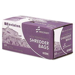 AbilityOne 8105013994792 Shredder Bags, Heavy-Duty, 20 gal Capacity, 50 Bags/Box, Clear