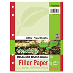 Pacon Ecology Filler Paper, 16-lb., 8 x 10-1/2, Wide Ruled, White, 150 Sheets/Pack