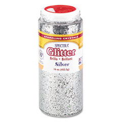 Pacon Spectra Glitter, .04 Hexagon Crystals, Silver, 16 oz Shaker-Top Jar