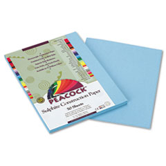 Pacon Peacock Sulphite Construction Paper, 76 lbs., 9 x 12, Sky Blue, 50 Sheets/Pack