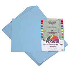Pacon Peacock Sulphite Construction Paper, 76 lbs., 12 x 18, Sky Blue, 50 Sheets/Pack