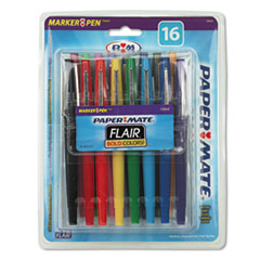 Paper Mate Point Guard Flair Porous Point Stick Pen, Assorted Ink, Medium, 16 per Pack