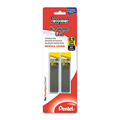 Pentel Super Hi-Polymer Lead Refills, 0.9mm, HB, Black, 2 Tubes of 30, 60/Pack
