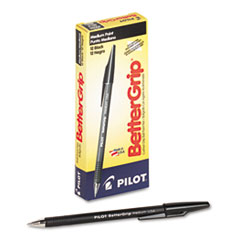 Pilot BetterGrip Ballpoint Stick Pen, Black Ink, Medium, Dozen
