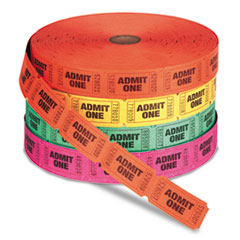 PM Company Admit One Single Ticket Roll, Numbered, Assorted, 2000 Tickets/Roll