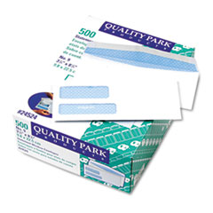 Quality Park Double Window Security Tinted Invoice & Check Envelope, #9, White, 500/Box