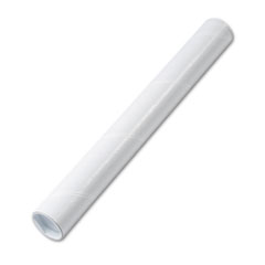 Quality Park Fiberboard Mailing Tube, Recessed End Plugs, 18 x 2, White, 25/Carton