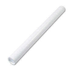 Quality Park Fiberboard Mailing Tube, Recessed End Plugs, 36 x 3, White, 25/Carton