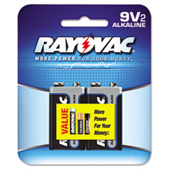 Rayovac Alkaline Batteries, 9V, 2/Pack, Recloseable Pkg
