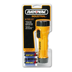 Rayovac Industrial Tough Flashlight, 2 D, Black/Yellow