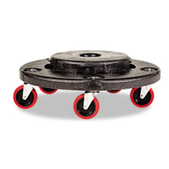 Rubbermaid Commercial Brute Quiet Dolly, 250lb Capacity, 18 1/4 dia. x 6 5/8h, Black