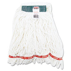 Rubbermaid Commercial Web Foot Shrinkless Looped-End Wet Mop Head, Cotton/Synthetic, Medium, White