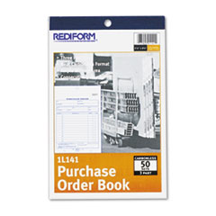 Rediform Purchase Order Book, 5 1/2 x 7 7/8 Bottom Punch, Three-Part Carbonless, 50 Forms