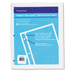 National Rip Proof 20-lb, Reinforced Filler Paper, Unruled, 11 x 8-1/2, WE, 100 Sheets/Pk